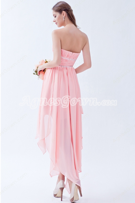 Strapless High Low Hem Pink Bridesmaid Dress