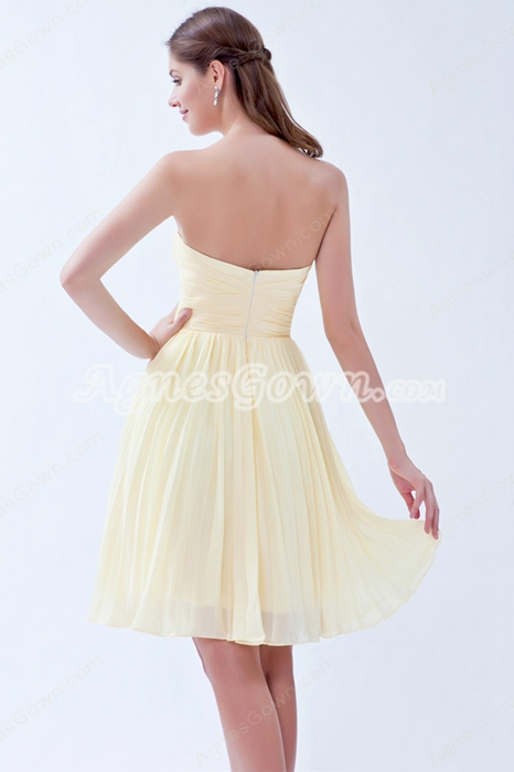 lovely Mini Length Daffodil Chiffon Bridesmaid Dress For Juniors