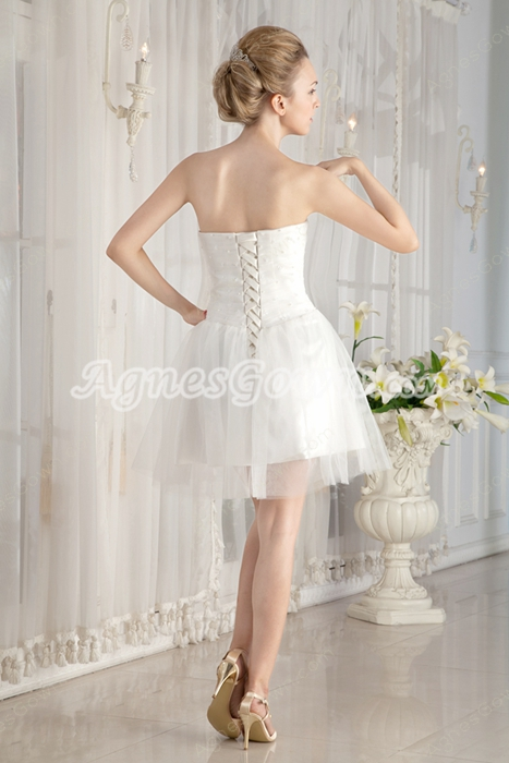 Strapless Puffy Short Length Tulle White Cocktail Dress With Pearls