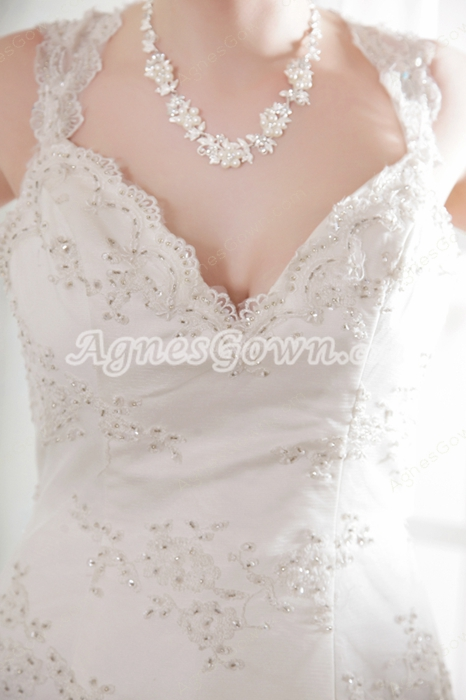 Grecian A-line Full Length Lace Wedding Dress With Beads