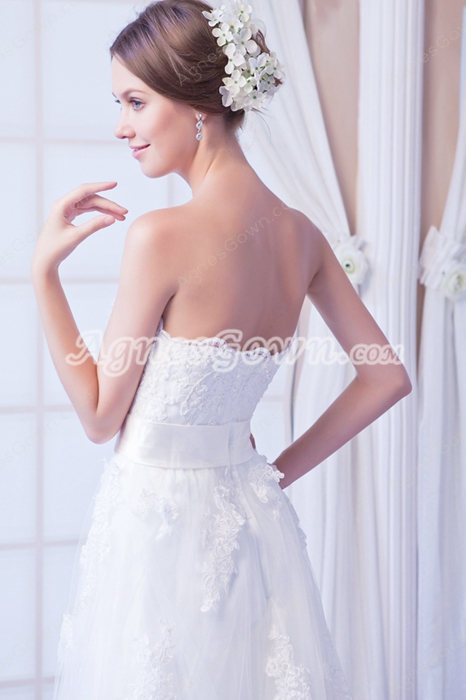 Flattering A-line Floor Length Lace Wedding Dress With Satin Belt