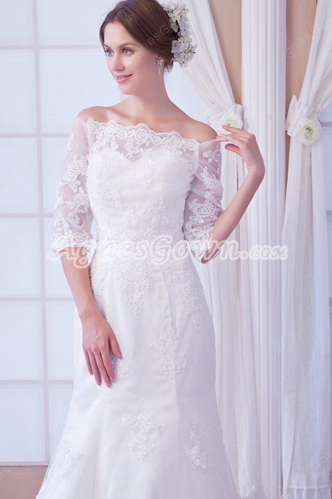 3/4 Sleeves Off The Shoulder Lace Wedding Gown 2016