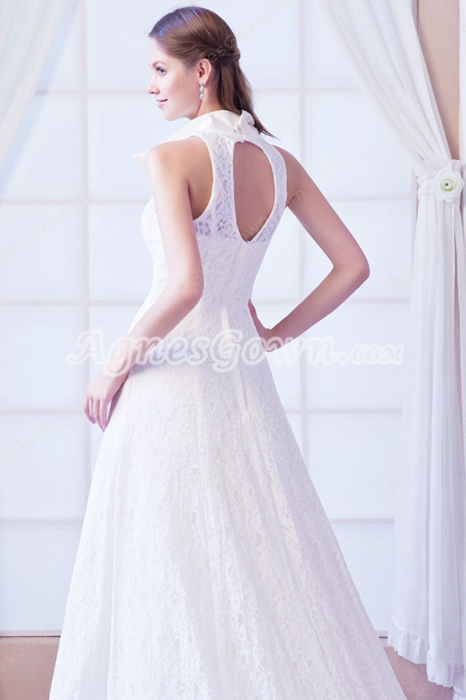 A-line Ivory Lace Jacket Plus Size Wedding Dress 2 pieces