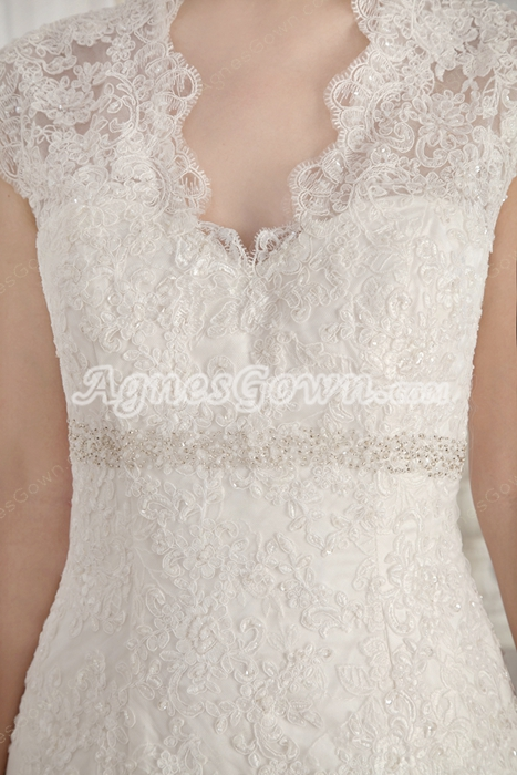 Queen Ann Neckline Mermaid Lace Wedding Gown With Illusion Back