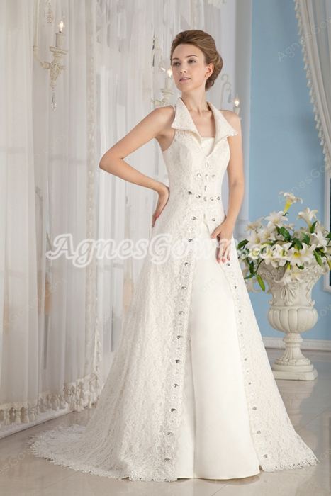 Cut Out Back A-line Ivory Lace Wedding Dress Two Pieces