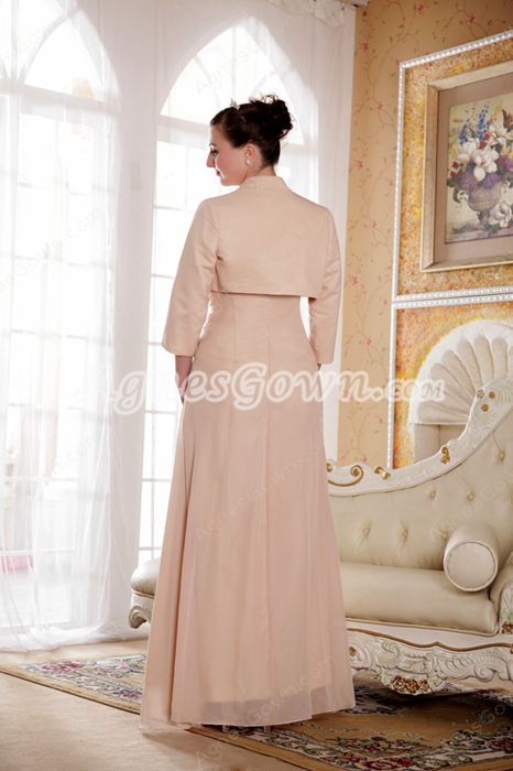 Column Full Length Champagne Mother Of The Bride Dress With 3/4 Sleeve Jacket