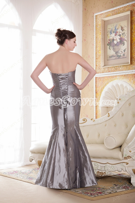 Sweetheart Trumpet/Mermaid Silver Grey Plus Size Mother Dress With Jacket