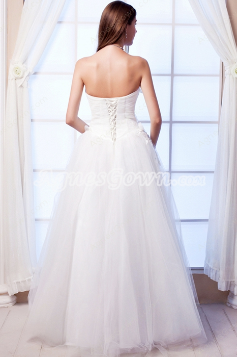 Simple Strapless White Tulle Princess Quinceanera Dress Corset Back