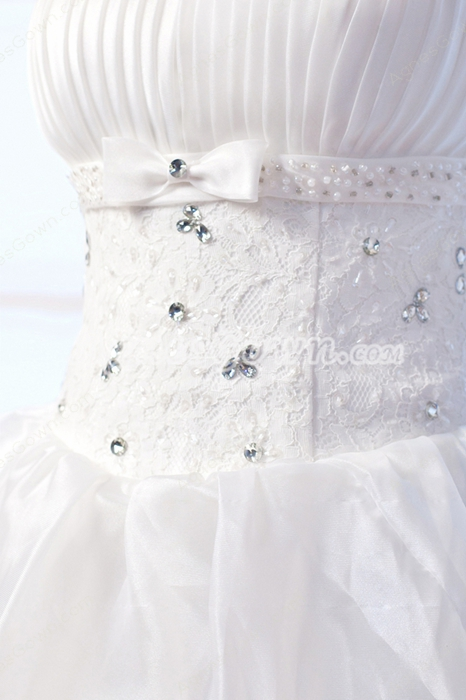 Strapless Puffy Floor Length Tiered Organza Quinceanera Dress