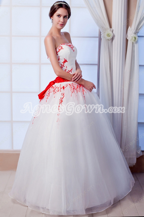 Simple Strapless White And Red Tulle Ball Gown Quinceanera Dress