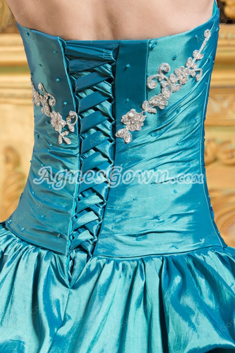 Dipped Neckline Ball Gown Taffeta Teal Quinceanera Dress Dropped Waist
