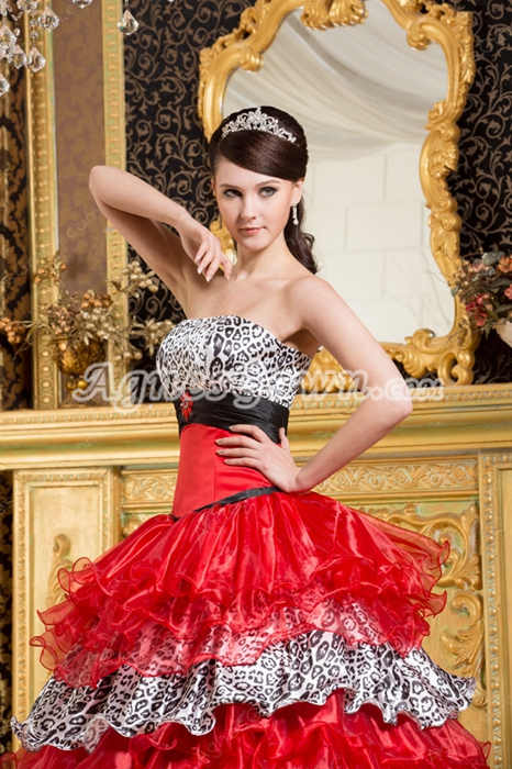 Multi-Colored Red Organza With Black Leopard Satin Quince Dress