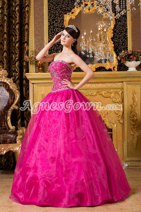 Embroidery Beads Strapless Ball Gown Fuchsia Organza Sweet 15 Dress