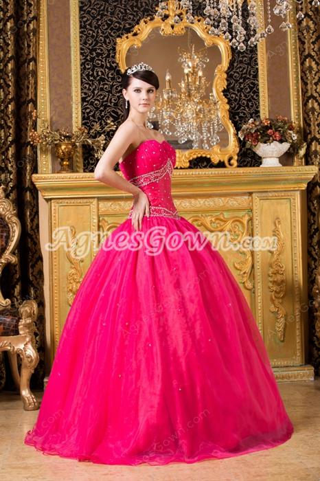 Adorable Shallow Sweetheart Fuchsia Organza Ball Gown Quinceanera Dress
