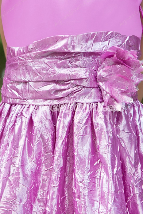 Tea Length Fuchsia Little Girls Pageant Dress With Handmade Flower