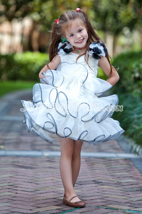 Mini Length Ruffled White & Silver Tutu Flower Girl Dress