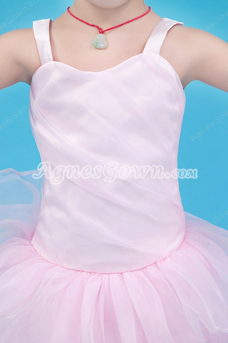 Lovely Straps Puffy Floor Length Pearl Pink Flower Girl Dress