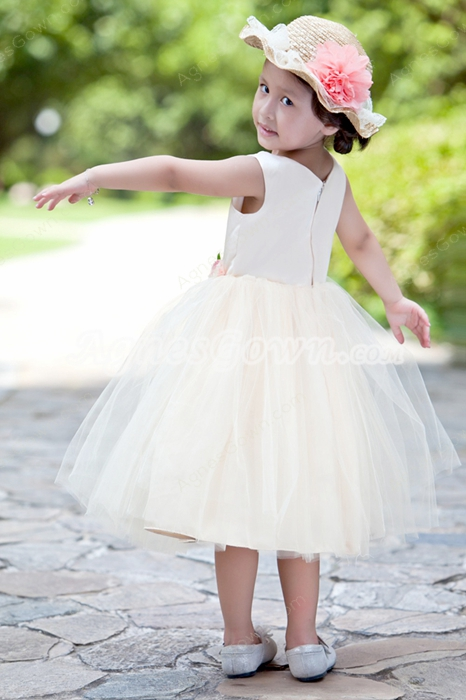 Tea Length Champagne Tulle Tutu Infant Flower Girl Dress