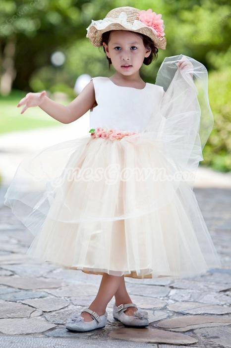 Tea Length Champagne Tulle Tutu Infant Flower Girl Dress