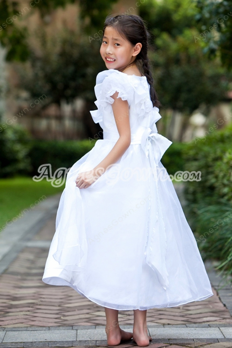 Tea Length Bubble Sleeves Princess Flower Girl Dress