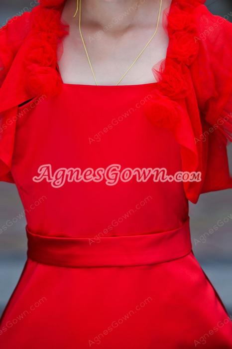 Tea Length Short Sleeves Red Little Girls Dress