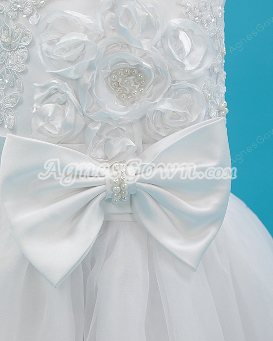Cute Spaghetti Straps Tea Length Infant Flower Girl Dress With Bow