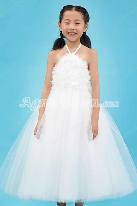 Puffy Ankle Length White Tulle Halter Flower Girl Dress
