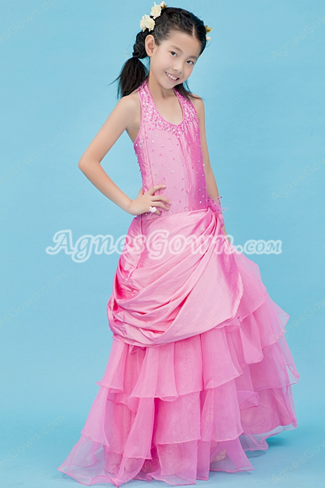 Top Halter Puffy Floor Length Hot Pink Little Girls Party Dress
