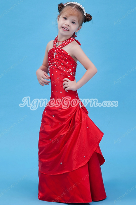 Halter A-line Full Length Red Little Girls Pageant Dress