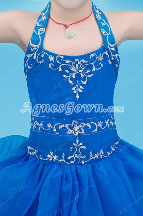 Lovely Halter Puffy Floor Length Royal Blue Organza Flower Girl Dress
