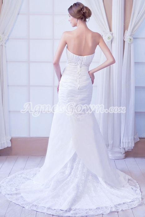 Glamour Sweetheart Trumpet/Fishtail Satin And Lace Wedding Dress For Plus Size Women