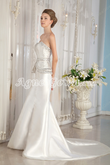 Heavy Beaded Sweetheart Ivory Satin Mermaid Wedding Dress 2016