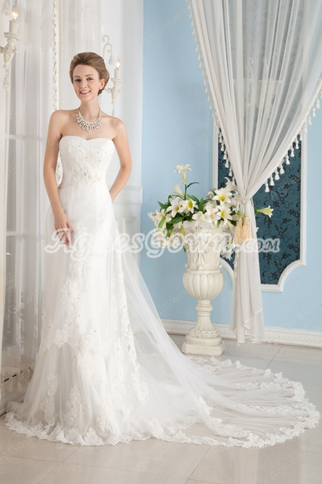 Dipped Neckline A-line Lace Bridal Gown