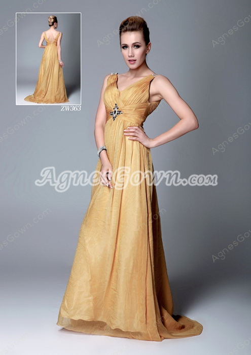 Graceful V-Neckline Gold Formal Evening Gown