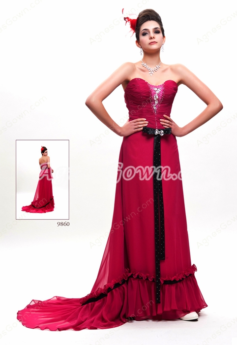 Sweetheart A-line Full Length Magenta Prom Dress