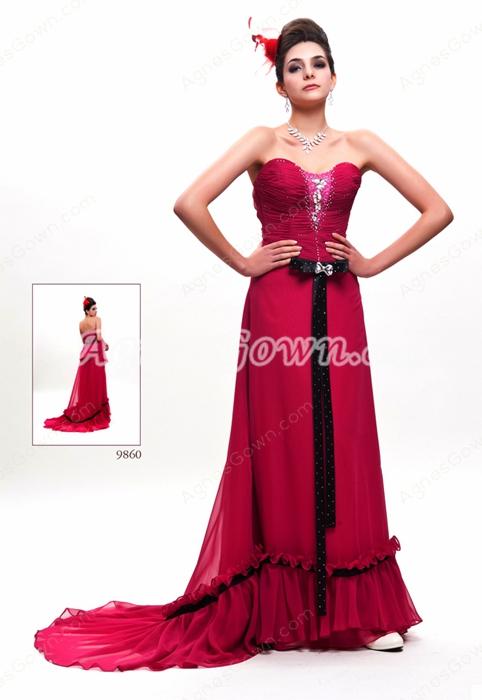 Sweetheart A-line Full Length Magenta Prom Dress