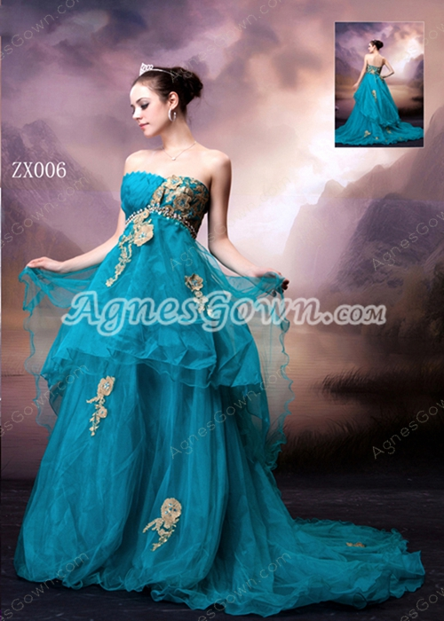 Special Strapless Puffy Floor Length Teal Quinceanera Dress