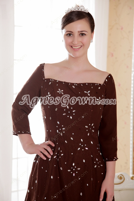 3/4 Sleeves High Low Hem Brown Chiffon Mother Of The Bride Dress