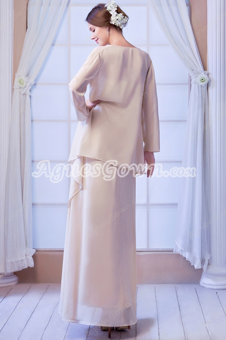 Ankle Length Column Strapless Chiffon Mother Of The Bride Dress