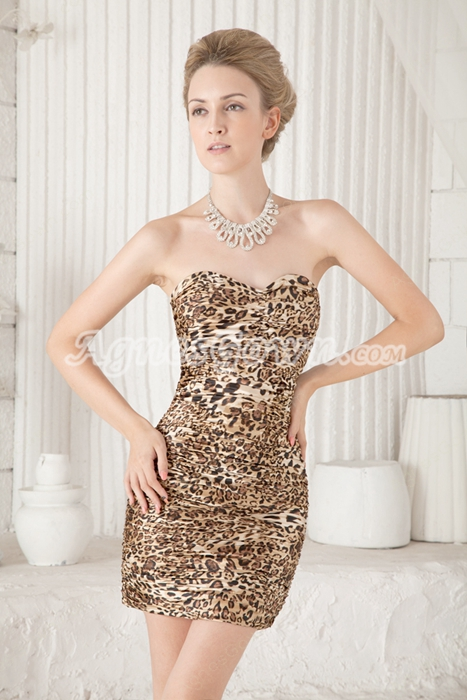 Hot Sheath Mini Length Leopard Cocktail Dress