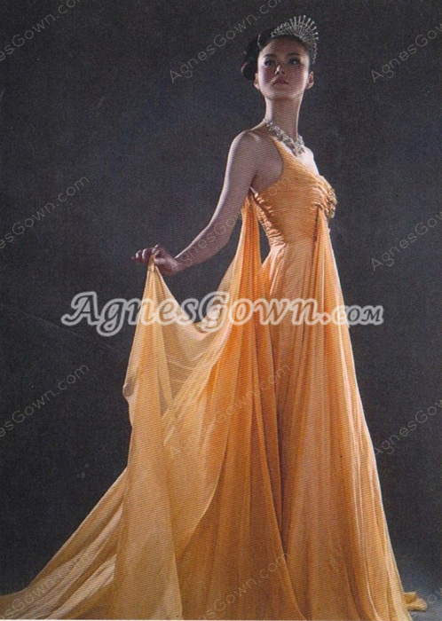 Elegance One Shoulder A-line Orange Chiffon Evening Dress