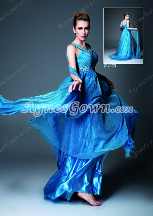 Glamour Straps A-line Blue Chiffon Formal Evening Gown