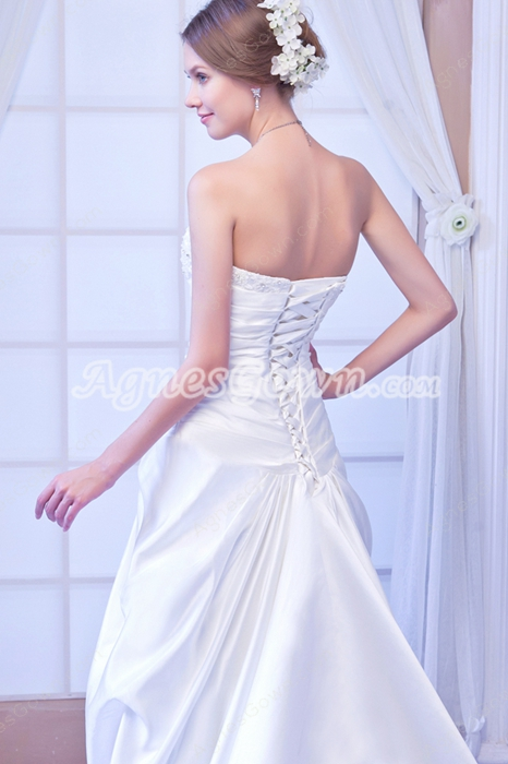 Strapless A-line Satin Plus Size Wedding Dress With Chapel Train