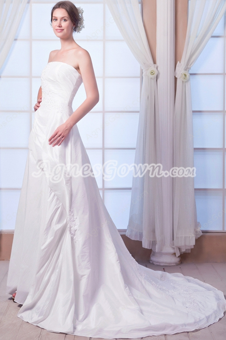 Modest Strapless A-line Taffeta Wedding Dress Lace Up Back