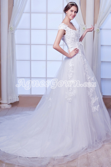 Desirable Double Straps Tulle Princess Wedding Dress With Lace