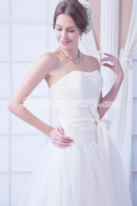 Beautiful Dipped Neckline White Organza Princess Wedding Gown