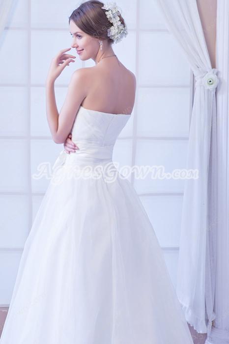 Beautiful Dipped Neckline White Organza Princess Wedding Gown