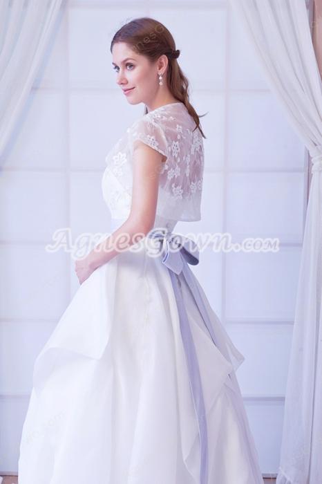 Sweetheart White Organza Princess Wedding Dress With Short Sleeves Bolero