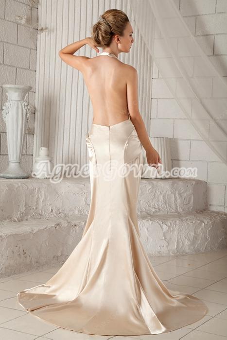 Backless Top Halter A-line Champagne Satin Evening Dress