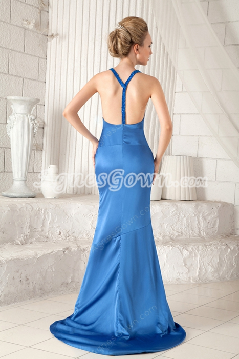 Hot Plunge Neckline Sheath Floor Length Blue Informal Evening Dress